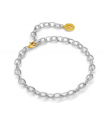 Pulsera de plata 16-24 cm rodio claro, cierre oro amarillo, enlace 7x5 mm