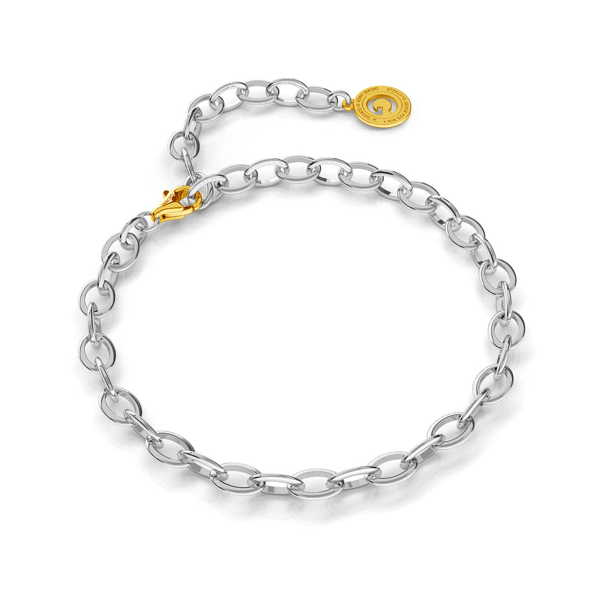 STERLING SILVER BRACELET 16-24 CM LIGHT RHODIUM, YELLOW GOLD CLASP, LINK 7X5 MM
