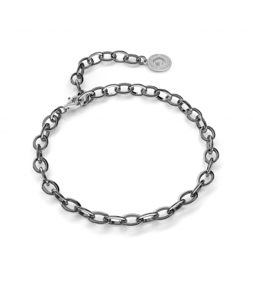 STERLING SILVER BRACELET 16-24 CM BLACK RHODIUM, LIGHT RHODIUM CLASP, LINK 7X5 MM