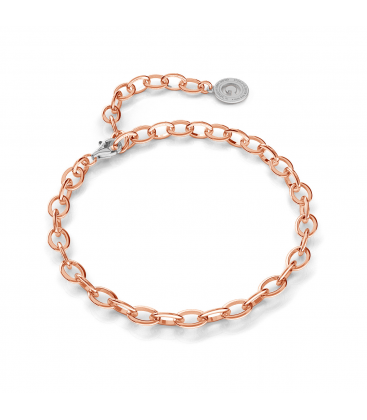 STERLING SILVER BRACELET 16-24 CM PINK GOLD, LIGHT RHODIUM CLASP, LINK 7X5 MM