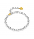 STERLING SILVER BRACELET 16-24 CM LIGHT RHODIUM, YELLOW GOLD CLASP, LINK 9X6,5 MM