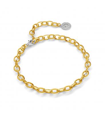 Pulsera de plata 16-24 cm oro amarillo, cierre rodio claro, enlace 9x6,5 mm