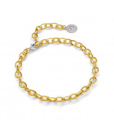 STERLING SILVER BRACELET 16-24 CM YELLOW GOLD, LIGHT RHODIUM CLASP, LINK 9X6,5 MM
