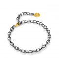 STERLING SILVER BRACELET 16-24 CM BLACK RHODIUM, YELLOW GOLD CLASP, LINK 9X6,5 MM