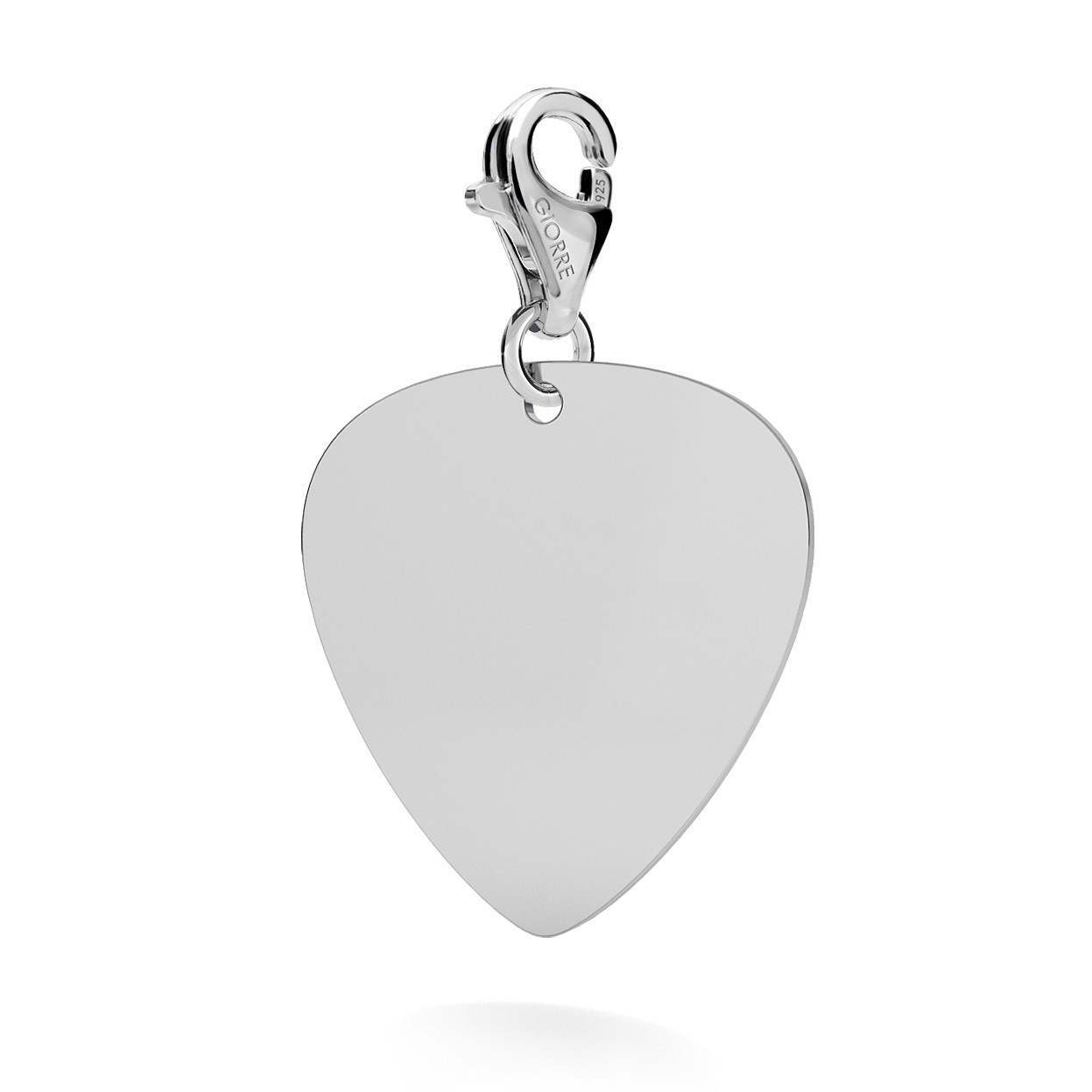 CHARM 112, GUITAR PICK WITH ENGRAVE, STERLING SILVER (925) RHODIUM OR GOLD PLATED