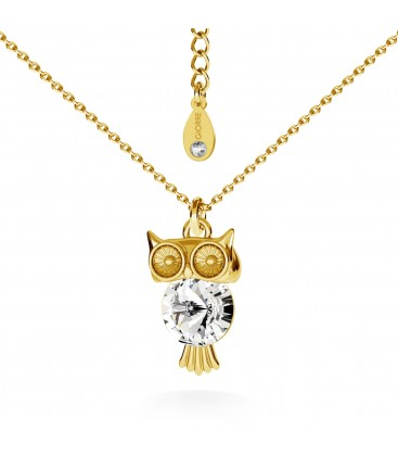 Owl with swarovski necklace silver 925