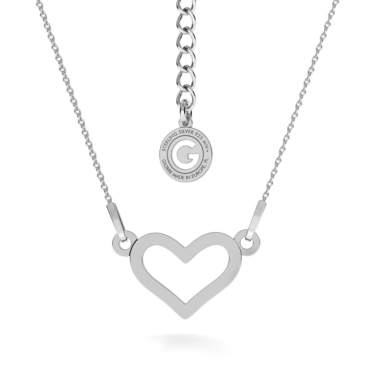 SIMPLY HEART NECKLACE, RHODIUM OR 24K / 18K GOLD PLATED