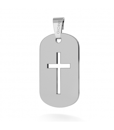 DOG TAG WITH CROSS PENDANT 925