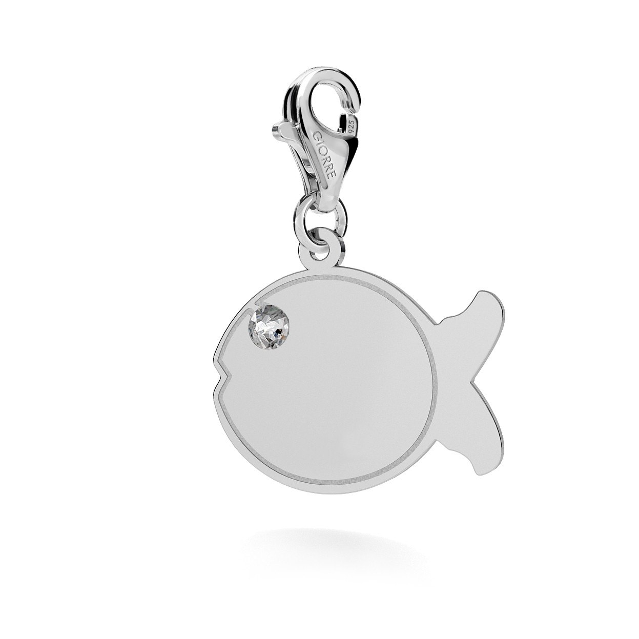 CHARM 115, FISH WITH ENGRAVE, STERLING SILVER (925) RHODIUM OR GOLD PLATE