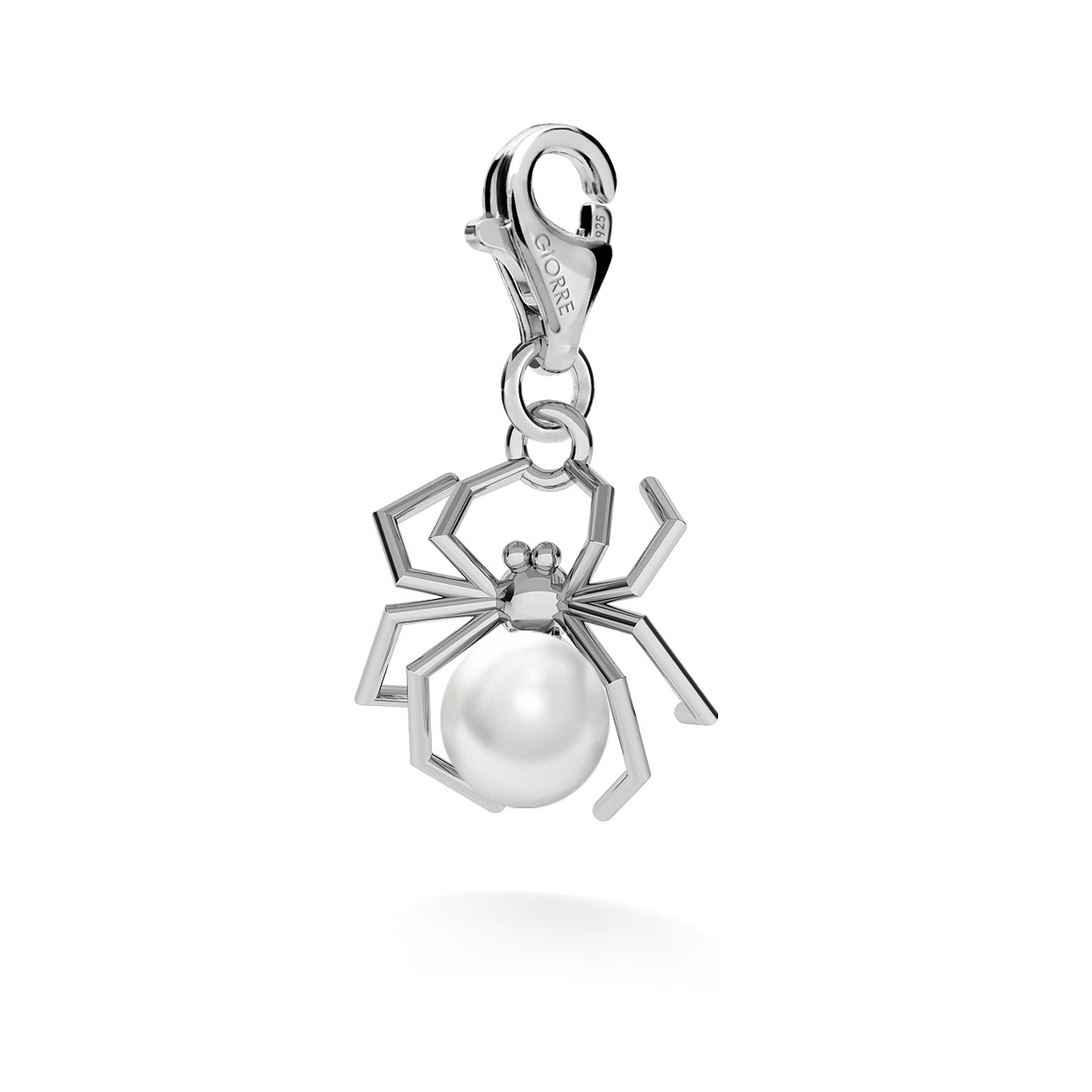 CHARM 117, SPIDER WITH PEARL STERLING SILVER (925) RHODIUM OR GOLD PLATE