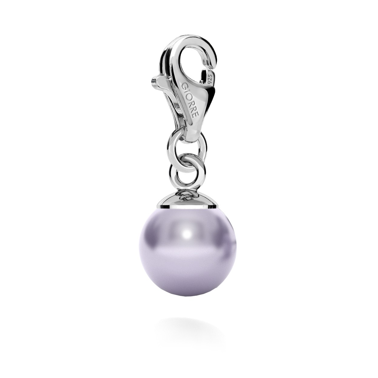 CHARM 119, PEARL, SWAROVSKI 5810 MM 8, STERLING SILVER (925) RHODIUM OR GOLD PLATE
