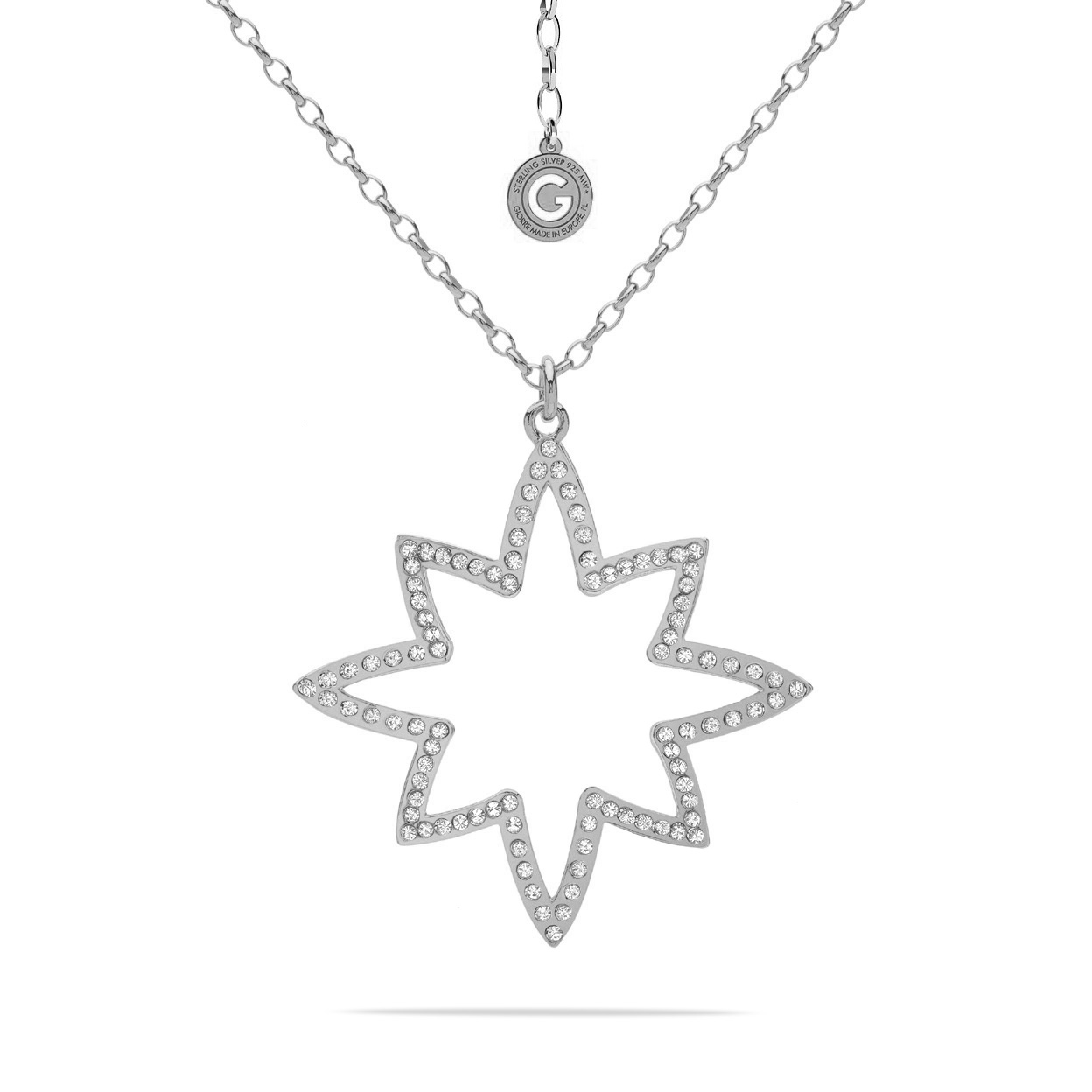 NECKALCE WITH SILVER STARS AND SWAROVSKI CRYSTALS