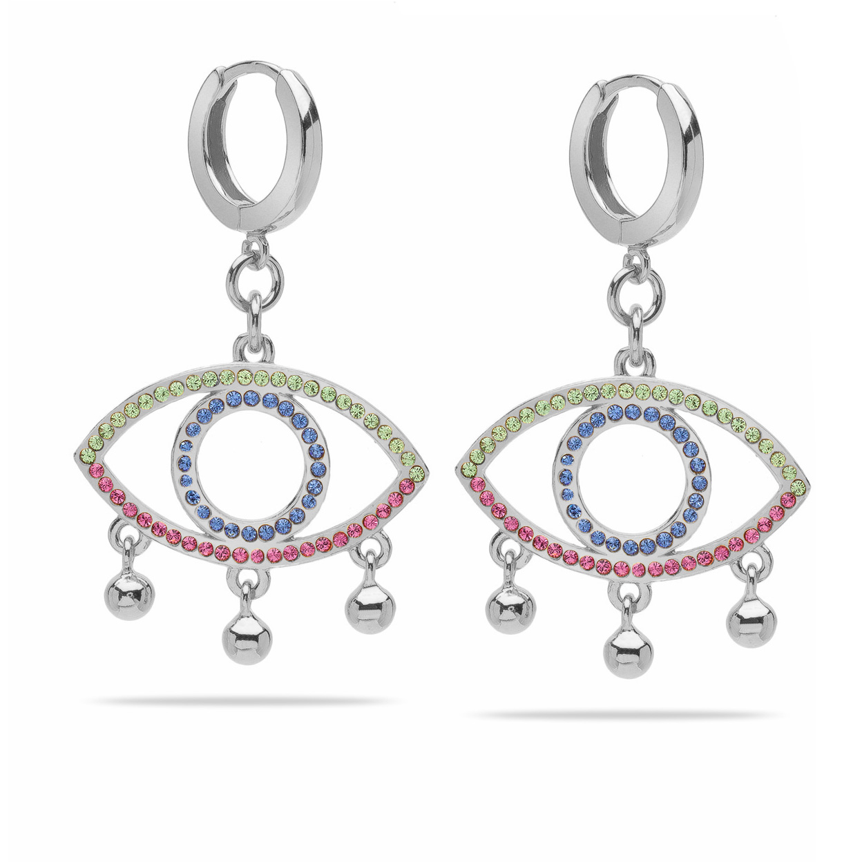 SILVER FACE EARRINGS WITH SWAROVSKI CRYSTALS