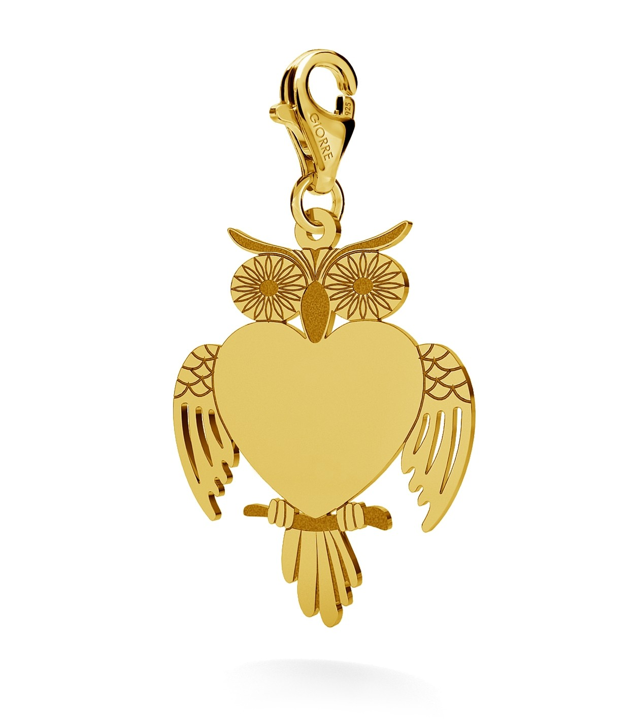 CHARM 121, BIG OWL WITH ENGRAVE, STERLING SILVER (925) RHODIUM OR GOLD PLATED