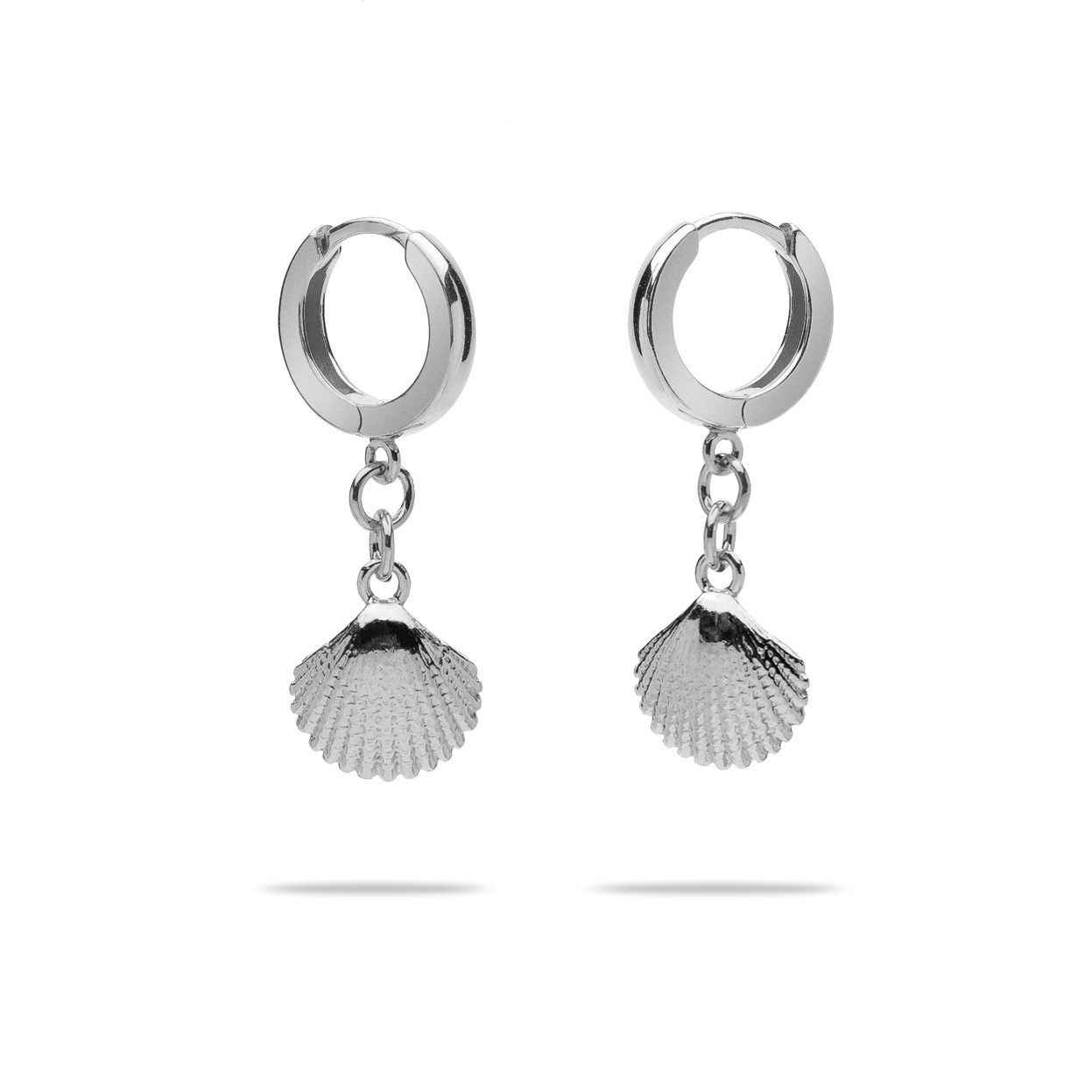 SHELL HOOP EARRINGS STERLING SILVER 925