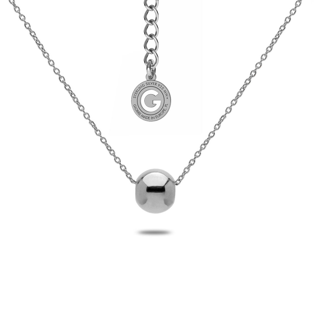NECKLACE WITH BALL, STERLING SILVER 925