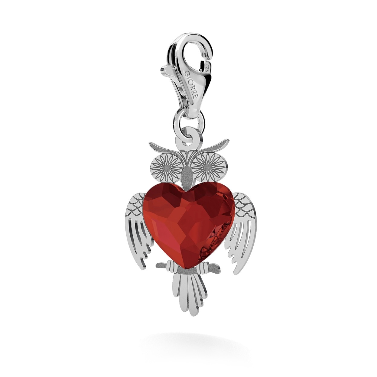 CHARM 122, SMALL OWL, SWAROVSKI 2808 MM 10, STERLING SILVER (925) RHODIUM OR GOLD PLATE