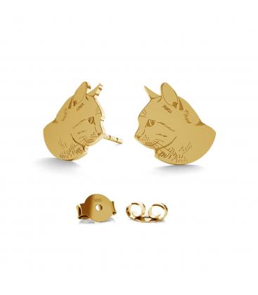 Złote kolczyki kot au 585