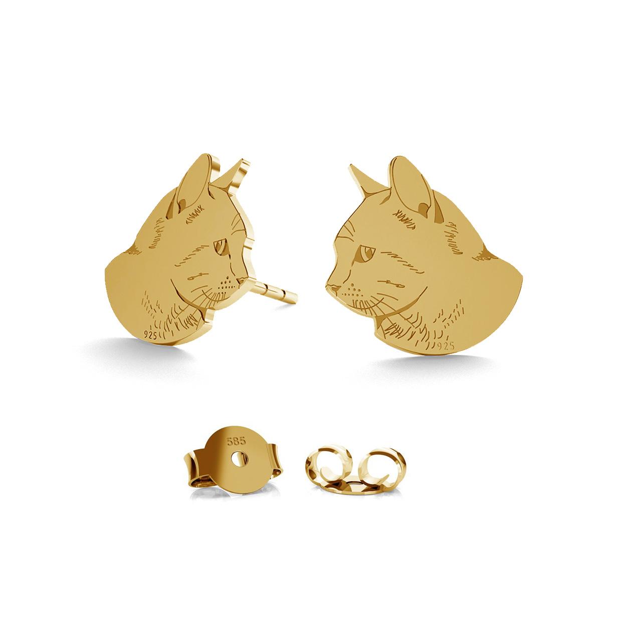 GOLD EARRINGS WOLF 14K