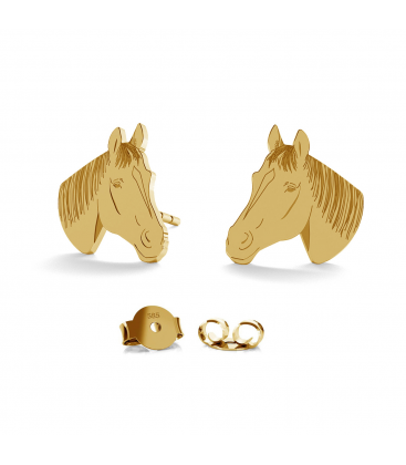 Gold earrings horse 14k