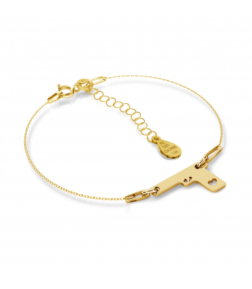 GOLD GUN WITH HEARTS BRACELET 14K