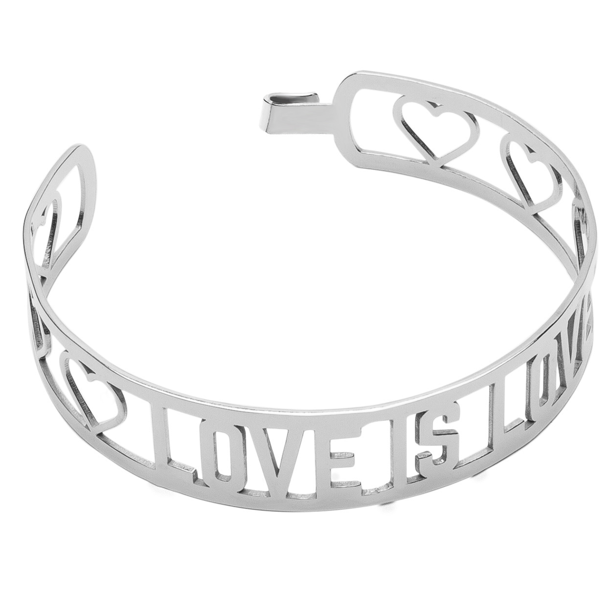 LOVE IS LOVE BANGLE BRACELET, STERLING SILVER 925