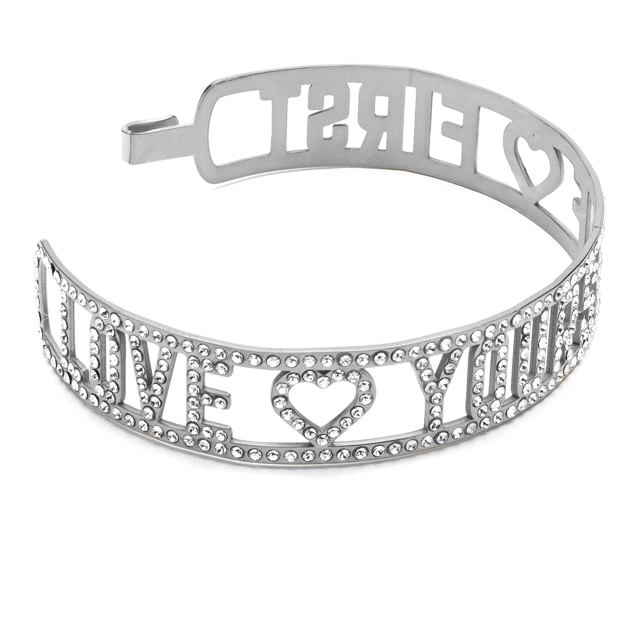 LOVE YOURSELF FIRST PULSERA SWAROVSKI PLATA