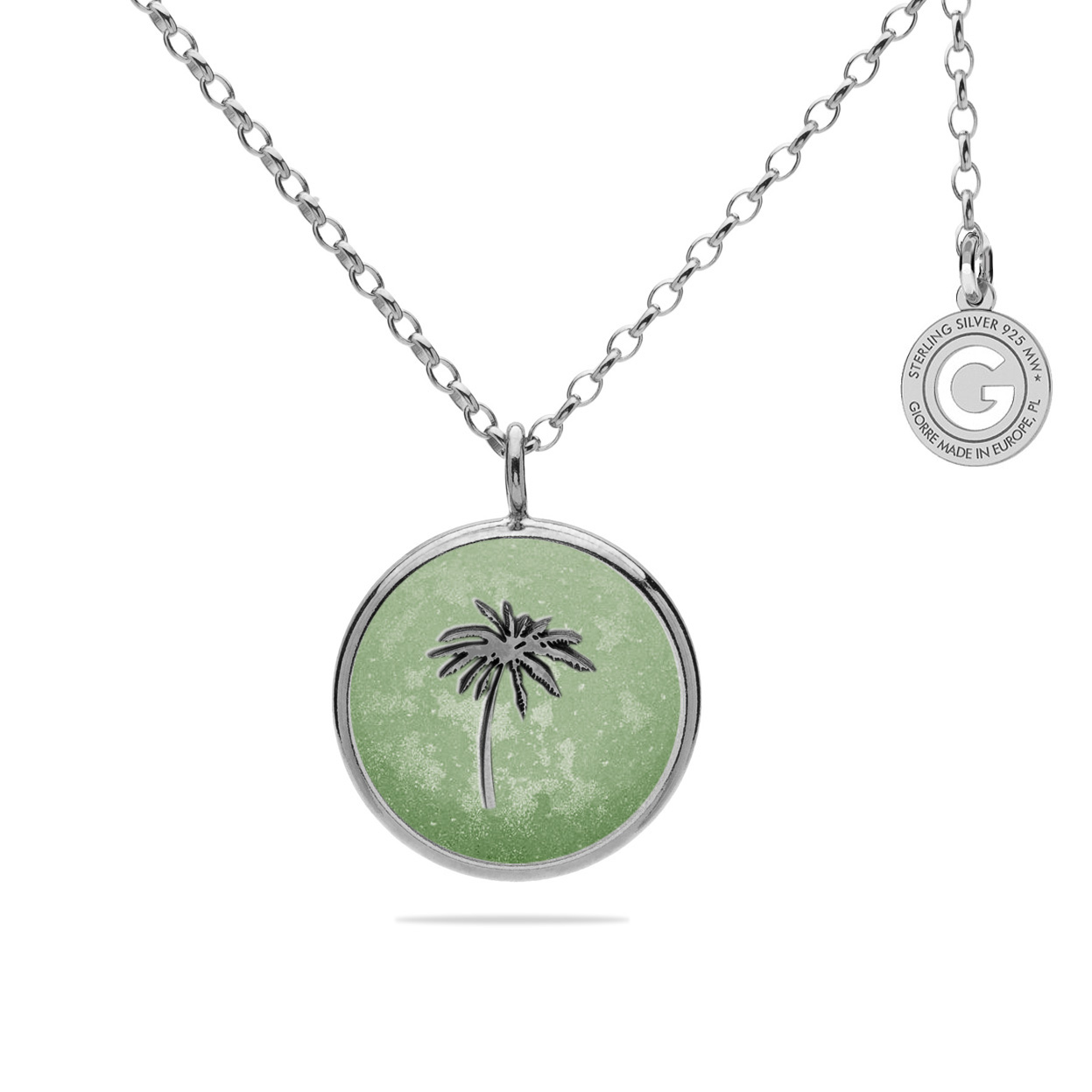 PALM TREE MEDALLION NECKLACE SILVER 925