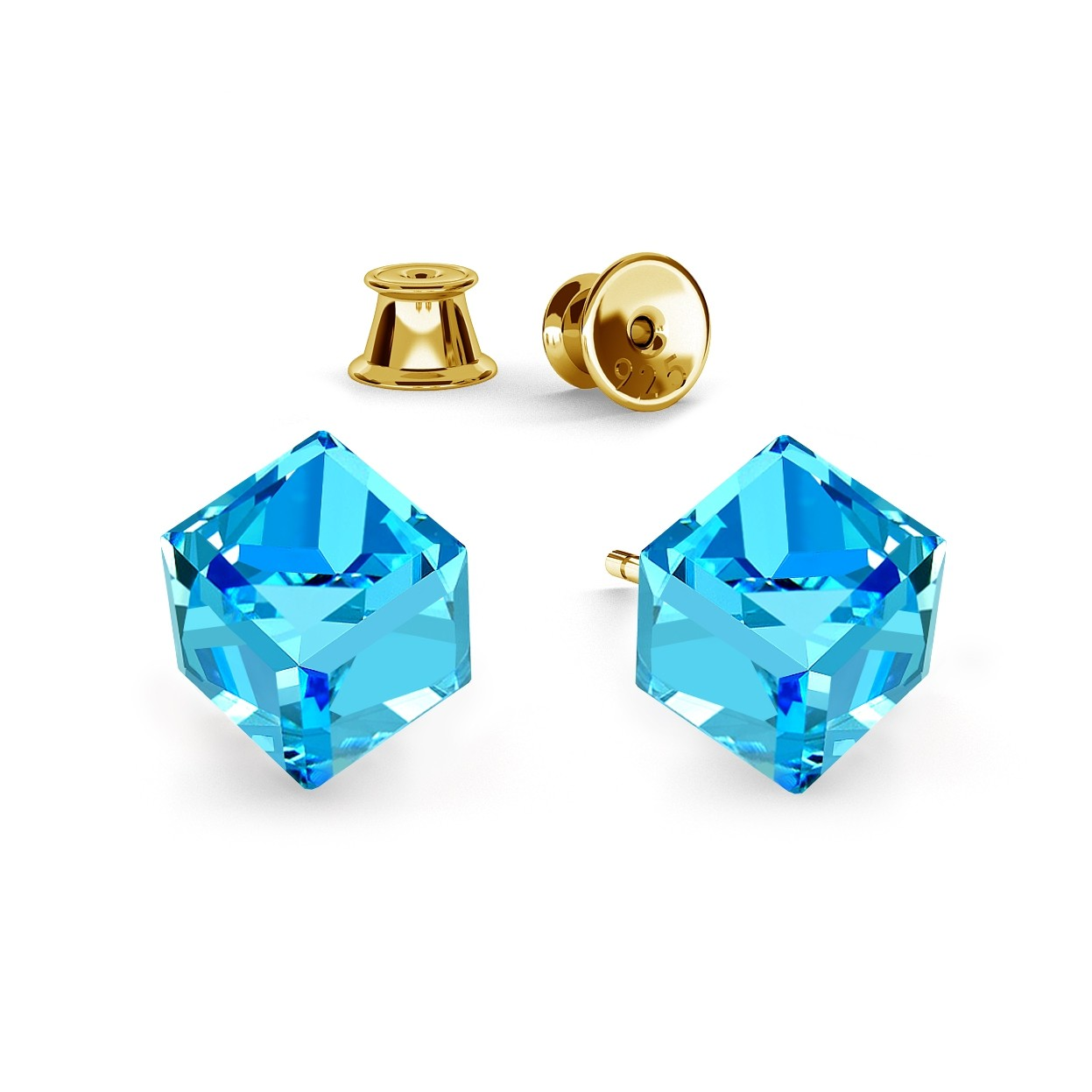 CUBE EARRINGS, SWAROVSKI 4841 MM 6, RHODIUM OR GOLD PLATED