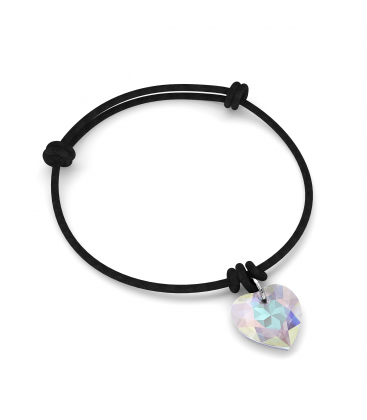Bracelet en cordon avec coeur de cristaux swarovski
