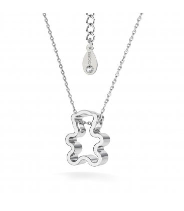 Teddy bear necklace rhodium plated - basic