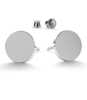 Okrągłe kolczyki 11 mm srebro jasny rod - basic