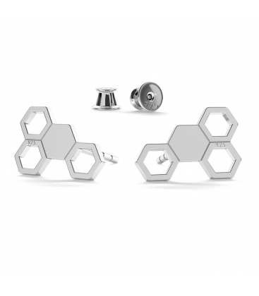 Silver honeycomb earrings - basic