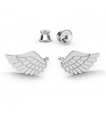 Kolczyki skrzydła anioła srebro jasny rod - basic