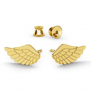 Kolczyki skrzydła anioła srebro złocone - basic