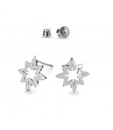 Kolczyki gwiazdki srebro jasny rod - basic