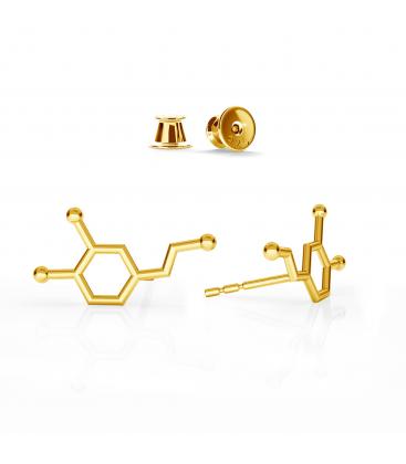 Dopamina aretes fórmula química plata 925 - basic