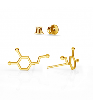 Kolczyki dopamina srebro złocone - basic