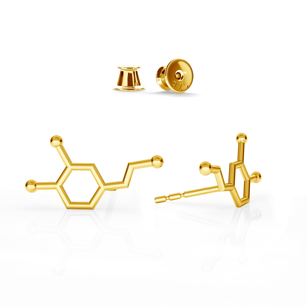 DOPAMINE EARRINGS CHEMICAL FORMULA STERLING SILVER - BASIC