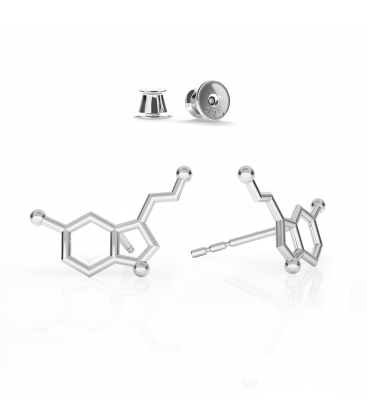 Earrings serotonin chemical formula, sterling silver - basic