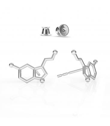Kolczyki serotonina srebro rodowane - basic