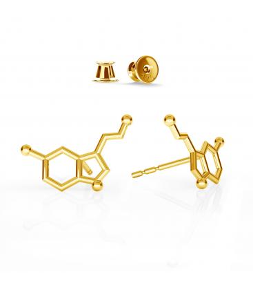 Kolczyki serotonina srebro złocone - basic