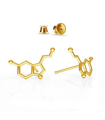 Serotonina aretes fórmula química plata 925 - basic