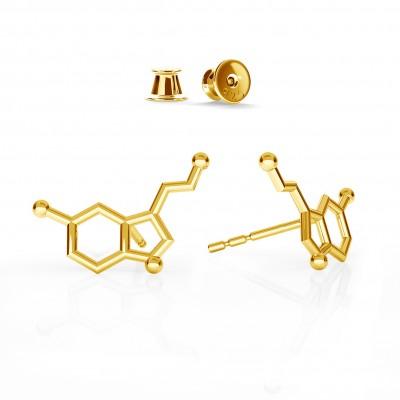 EARRINGS SEROTONIN CHEMICAL FORMULA, STERLING SILVER - BASIC