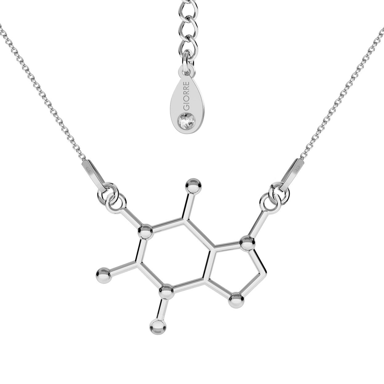 CAFFEINE NECKLACE CHEMICAL FORMULA STERLING SILVER