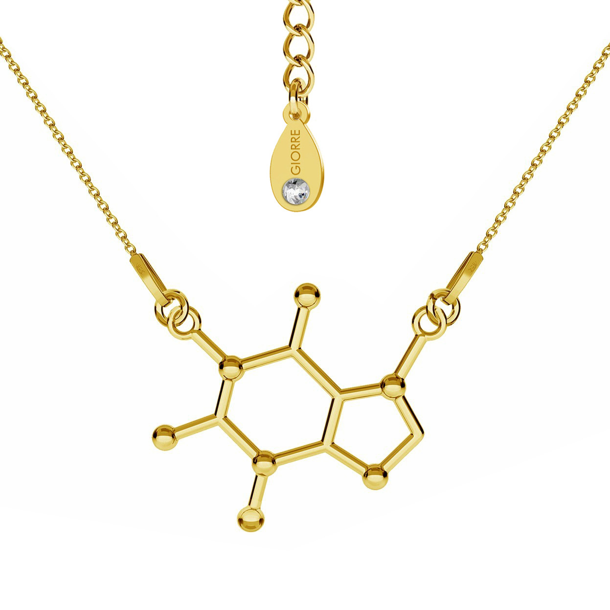 CAFFEINE NECKLACE CHEMICAL FORMULA STERLING SILVER - BASIC