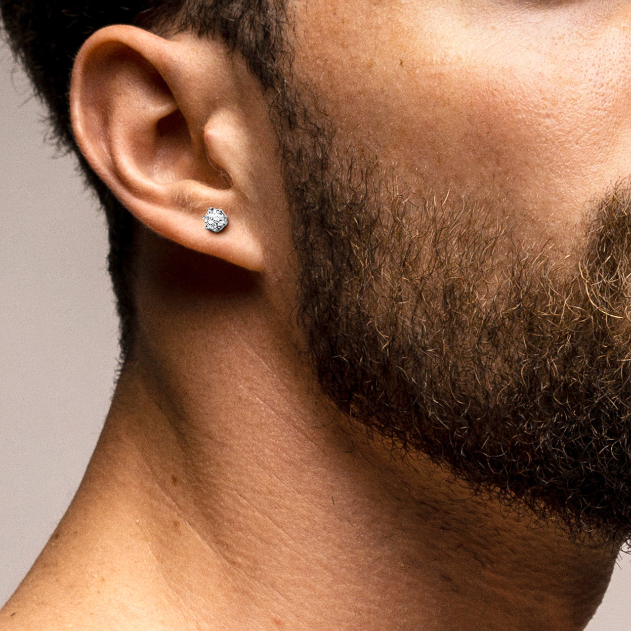 MEN'S EARRING 3 MM SWAROVSKI ZIRCONIA 925