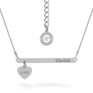 NECKLACE WITH HEART & RECTANGLE BAR, YOUR ENGRAVE
