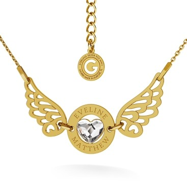 ANGEL HEART NECKLACE, YOUR ENGRAVE, SWAROVSKI 2808, RHODIUM OR 24K / 18K GOLD PLATED