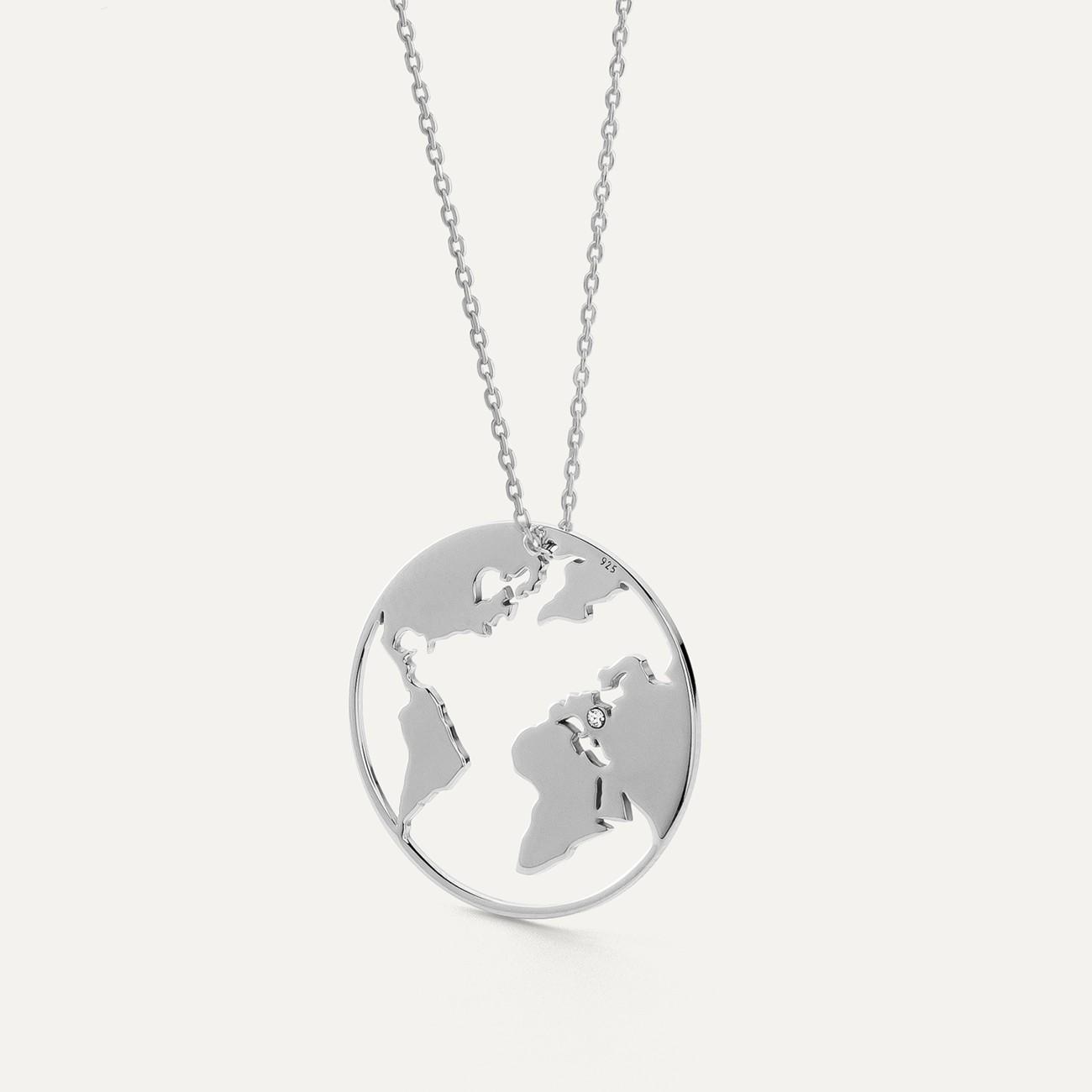 Heart necklace silver 925 swarovski crystals engraved